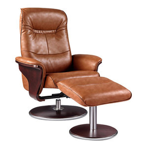 Milano Leather Swivel Recliner and Ottoman, Brown