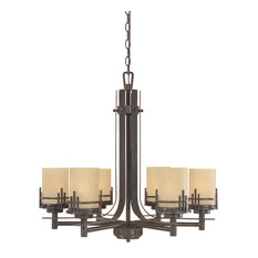 Warm Mahogany 6 Light 1 Tier Chandelier With Navajo Dust Shade