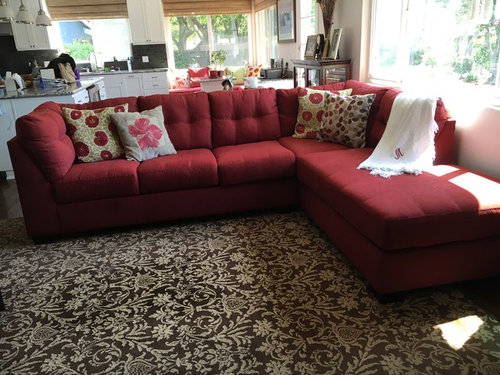 Which Rug Would Look Best With My Red Sectional Please Vote