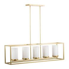 Linea di Liara Verona Box Frame Chandelier, Satin Brass