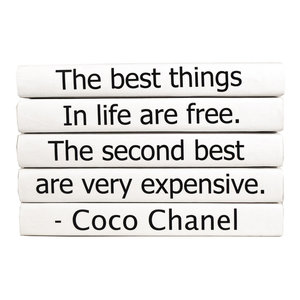 5 Piece The Best Things Coco Chanel Quote Decorative Book Set