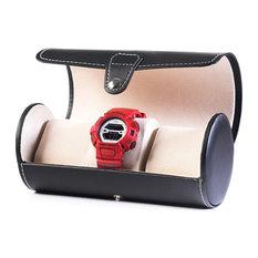 Black Leatherette Portable Watch Organizer Traveler's Roll