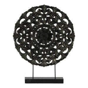 Round Wood Tabletop Ornament in Floral Design, Matte Black Finish, Large