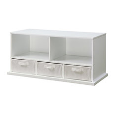 Badger Basket Co Shelf Storage Cubby With Three Baskets, White