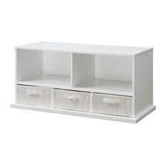 Shelf Storage Cubby With Three Baskets, White