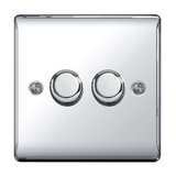 Nexus Metal Double Dimmer Switch, Push On/Off 400W, Polished Chrome Finish