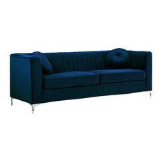 Meridian Furniture - Isabelle Velvet Sofa, Navy - Sofas