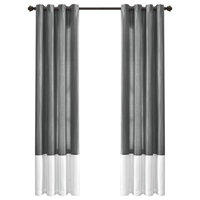 Window Curtain Panels, White And Gray, Set of 2