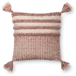 "Loloi - Loloi Decorative Throw Pillow Cover With Poly, Blush/Ivory, 18""x18"" - Stripes design sewn cotton base. 18""x18"". Made in India."
