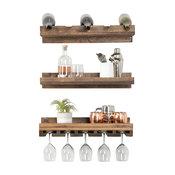 Rustic Handmade Wall Mounted Three Tiered Solid Wood Wine Bottle & Stemware Rack
