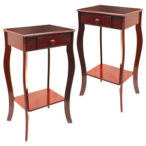 Kadoka Wooden Bedside Tables With Drawer, Cherry, Set of 2
