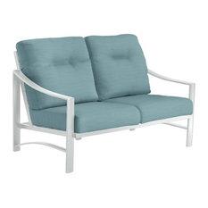Kenzo Cushion Love Seat, Snow Frame, Aqua Weave Cushion
