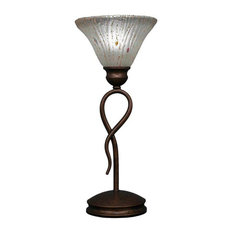 Leaf 1-Light Mini Table Lamp Bronze Frosted Crystal Glass
