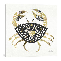 """""""Black Gold Crab"""" Print by Cat Coquillette, 12""""x12""""x1.5"""""""