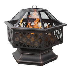 Oil Rubbed Bronze Hex Shaped Outdoor Firebowl With Lattice Design