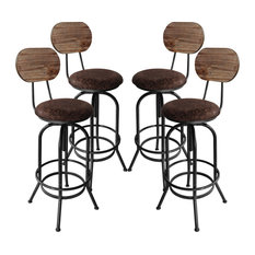 Adjustable Barstool Silver Brushed Gray With Brown Fabric Seat Set Of 4