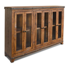 Crafters And Weavers Rustic Distressed Solid Wood Cabinet Bookcases