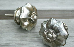 Silver Glass Melon-Shaped Door Knobs
