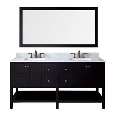 "Winterfell 72"" Double Bathroom Vanity Cabinet Set, Espresso"