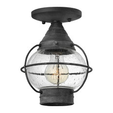 Hinkley Cape Cod Outdoor Small Flush Mount, Aged Zinc