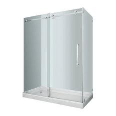 Moselle 60x35x77.5 Completely Frameless Sliding Shower Enclosure Stainless, Left