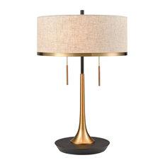 Elk Magnifica 2-Light Table Lamp D4067, Aged Brass , Black