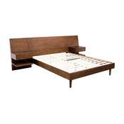 Ink&Ivy Clark Pecan Bed Set With 2 Nightstands, Queen