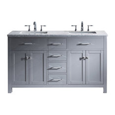 "Caroline 60"" Double Bathroom Vanity Set, Gray"