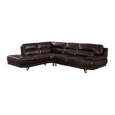 Kemp International Inc Vivian Leather Craft Sectional Dark Brown Sofas