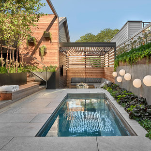 Inspiration For A Small Contemporary Side Yard Rectangular And Stone Pool Remodel In Chicago