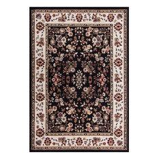"Miami Bijar Classic Black 5'3""x7'3"" Traditional Oriental Well Woven Area Rug"