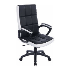Modern Swivel Chair Upholstered, PU Leather With Padded Armrest, Black and White