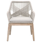 Essentials for Living - Loom Arm Chair, Set of 2 - Transitional style arm chair featuring intricate rope weave design and solid Mahogany legs.