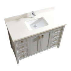 "Aurora 48"" Vanity Set With White Quartz Top, Oxford Gray"