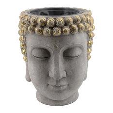 Sagebrook Home Resin Buddha Head Flower Pot,Grey & Gold Vase