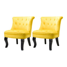 Upholstered Accent Chair with Tufted Back,Set of 2, Yellow