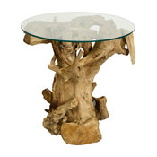 Rego Side Table With Glass Top, Natural
