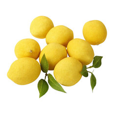 Serene Spaces Living Decorative Lemons with Leaves, 8-Piece Set