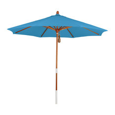Phat Tommy 7.5' Marenti Wood Outdoor Market Umbrella With Pacifica Fabric, Capri