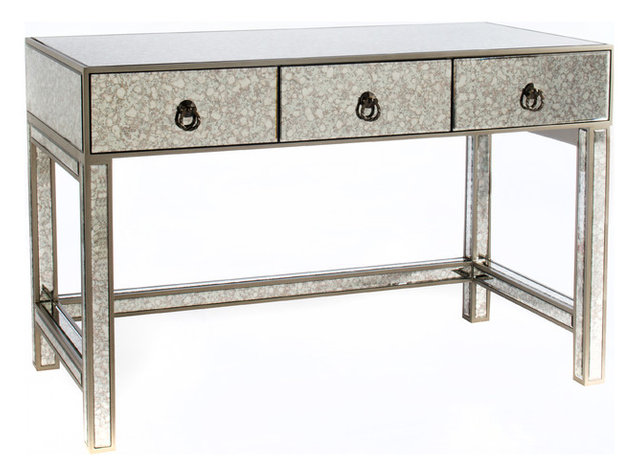 Talia Mirrored Desk Contemporary Desks And Hutches