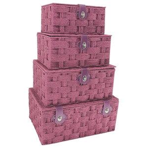 Burgundy Paper Rope Picnic Baskets, Set of 4