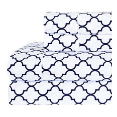 Percale Meridian 100% Cotton Sheet Set, White and Navy, Full