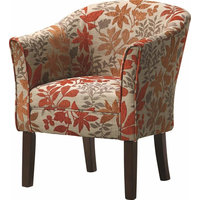 Accent Chair, Cappuccino Finished Legs, Autumn Leaves Pattern, Multi-color