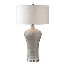Elegant Midcentury Modern Taupe Gray Table Lamp, Ribbed Ceramic Curved