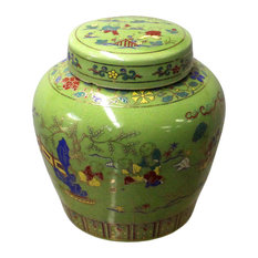 Chinese Lime Green Porcelain Color People Theme Urn Jar Container Hcs4472