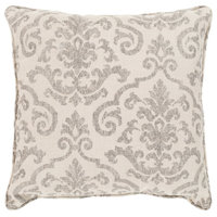 """Damara Outdoor Cushion or Pillow, Ivory and Taupe, 20"""""""