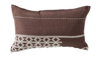 "Edo Pillow Collection, Lumbar Pillow Rich Brown and White, 13"" X 22"""