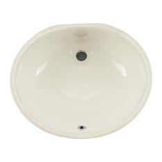 "Undermount 17"" Glazed Porcelain Oval Bathroom Sink, Biscuit"