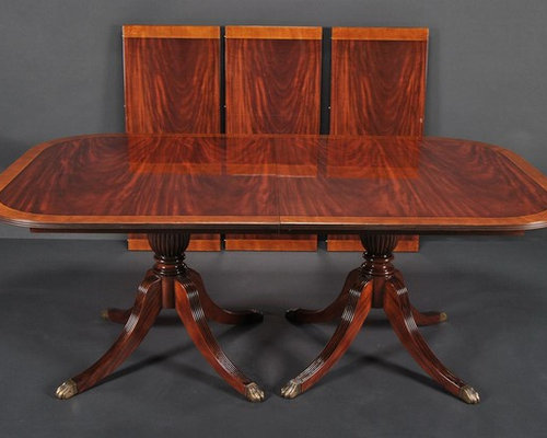 Duncan Phyfe Dining Room Table Mahogany Double Pedestal Table AP