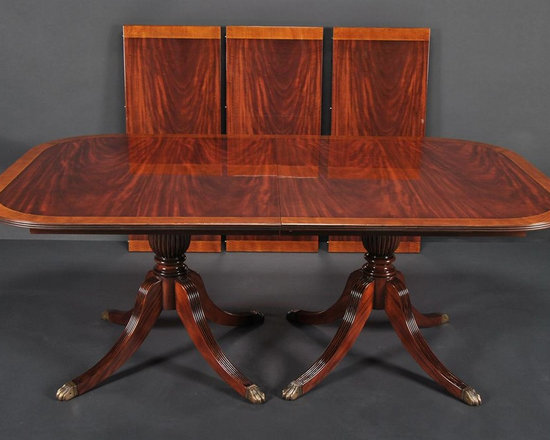 duncan phyfe dining room table, mahogany double pedestal table (ap